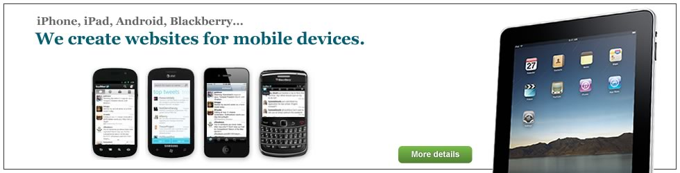 iPhone, iPad, Android, Blackberry... We create websites for mobile devices.